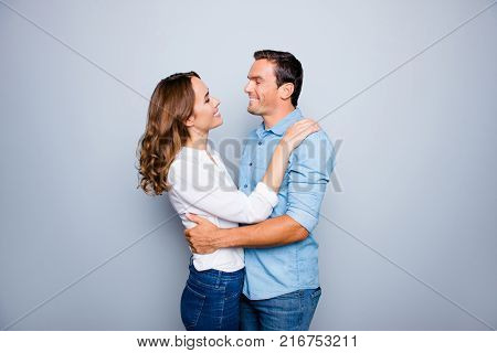He Vs She Happy Together. Close Up Portrait Of Attractive, Caucasian, Lovely, Cute, Adult Couple In