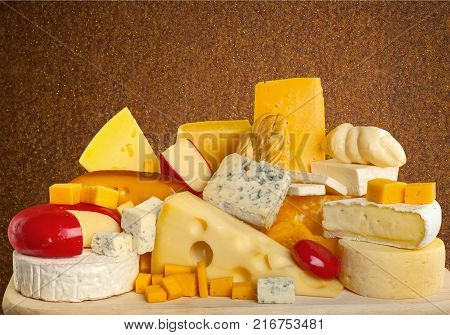Delicious cheese deli table triangle yellow swiss