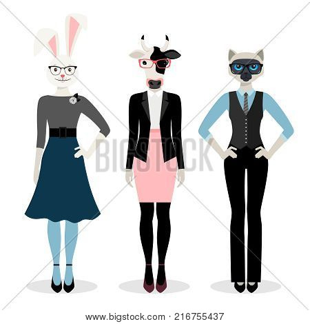 Animals businesswoman. Women in business suits with bunny, cat and cows in pink glasses heads isolated on white background, vector illustration