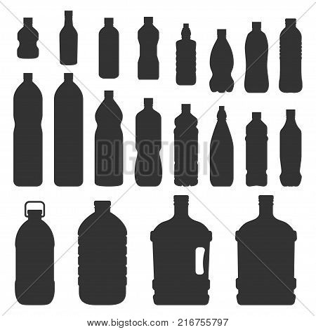 Plastic bottles silhouette. Black image of containers made from plastic, to store liquids, water, soft drinks, motor oil. Vector flat style cartoon illustration isolated on white background