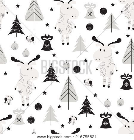 Seamless pattern with moose, bullfinch and trees in Scandinavian style. Christmas background in black and white colors.
