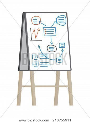 White flip chart with plan and statistics drawn by marker. Vector illustration of icon of office equipment isolated on white background