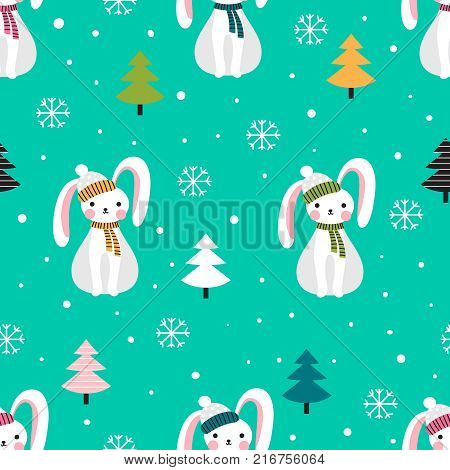 Christmas patten with cartoon hares in a scarf and hat and trees on a green background. Vector illustration.