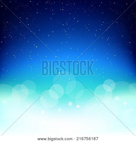 Space Christmas blue sky background. Falling snowflakes azure backdrop. Christmas winter snow decoration design template