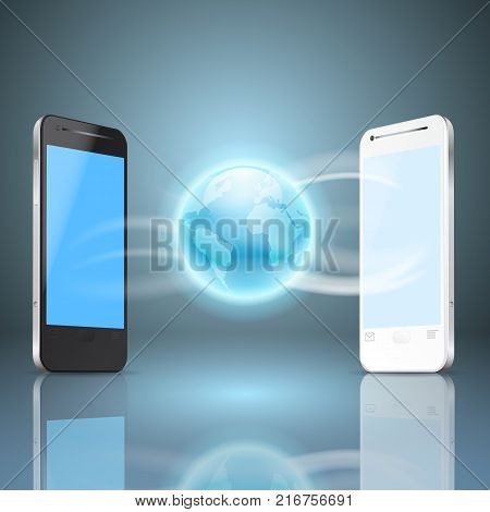 Phones and the globe, mobile internet concept. EPS10 vector.