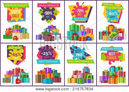Sale on exclusive products posters with gift boxes wrapped in decorative paper with colorful ribbons and bows vector illustrations set.