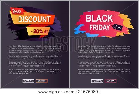Best discount -30 off black Friday collection of web pages samples with image and text vector illustration isolated on dark background