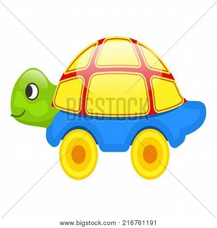 Cute toy turtle with yellow shell, blue bottom and green head on wheels isolated vector illustration on white background.