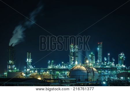 Lights of petrochemical industry plant with night Factory oil and gas refinery industrial
