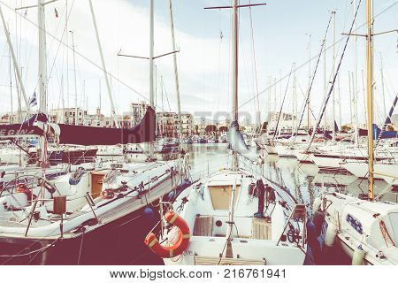 Palermo, Italy - November 29, 2017: Boats And Yachts Parked In La Cala Bay, Old Port In Palermo, Sic