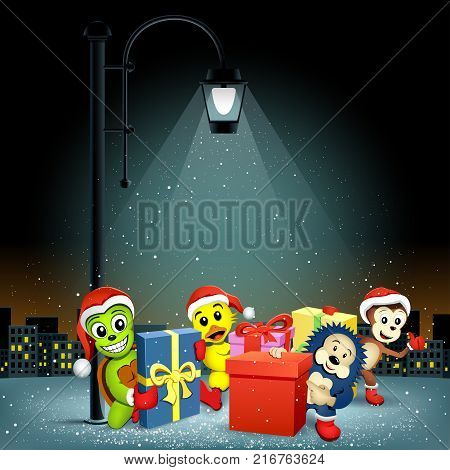 Christmas animals turtle hedgehog monkey duck with presents stand in electric pillar lamp lights and falling snow. Snowflakes falls on night city silhouette background