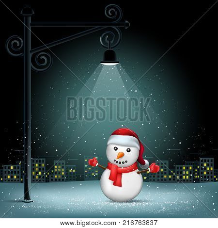 Snowman standing on pillar lamp lights. Christmas snowflakes falls on night city background