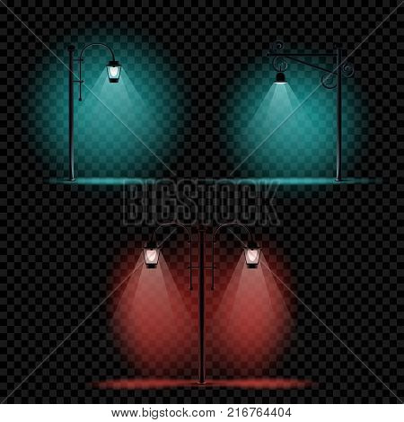 Pillar lamp light set on transparent background. Different electric pillars blue and red lights
