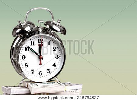 Clock bills alarm alarm clock time is money save time money