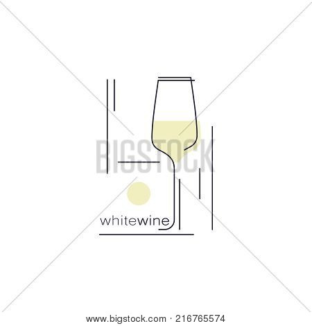 White wine. Glass with a drink. Icon in modern line style for restaurant menu, tasting, wine list, winery, shop. Vector illustration.