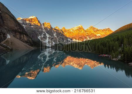 Sunrise at Moraine lake in Canadian Rockies, Banff National Park