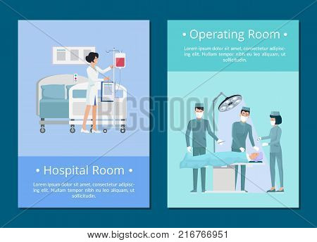 Hospital and operating room, nurse preparing room for patient and surgeons doing a procedure to ill person vector illustration isolated on blue
