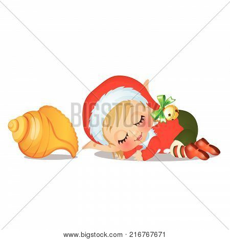 Santa's helper sleeping with large seashell isolated on white background. The attributes of Christmas and New year.  Vector cartoon close-up illustration.