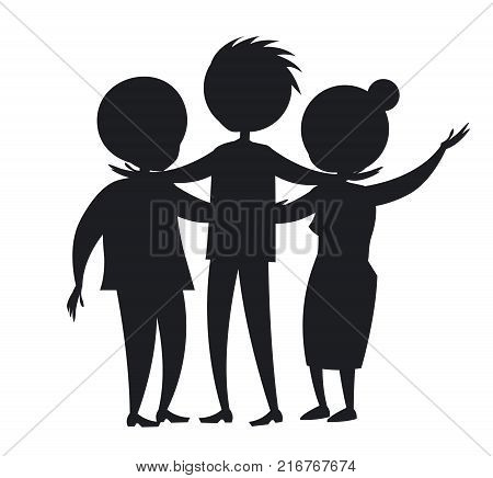 Happy mature family wife and husband and their grown up son vector isolated on white black silhouette. Family members cartoon characters colorless
