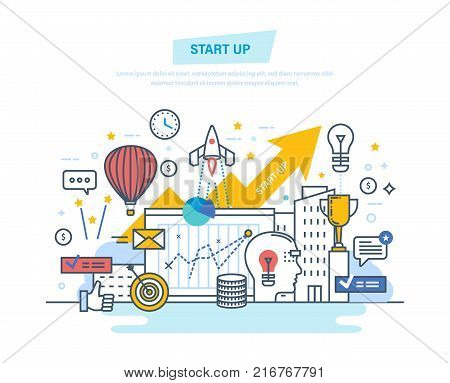 Startup, creative, modern information technology, business and business processes, implementation of ideas. Project development, professional growth. Illustration thin line design of vector doodles.