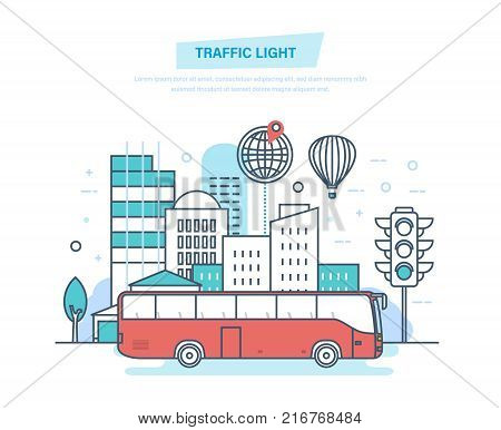 Urban landscape, street city, city transport bus, traditional street traffic light. Urban surroundings, trip, travel, modern vehicle. Illustration thin line design of vector doodles.