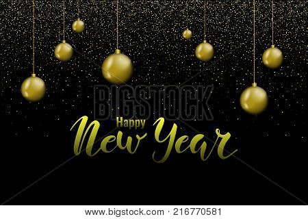 Happy New Year hand lettering background with christmas balls and lights. Stock vector