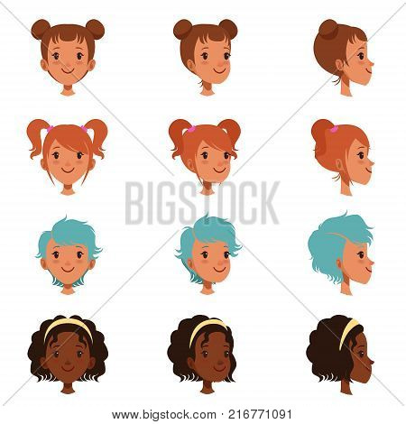 Avatars of female faces with different haircuts and hairstyles. Red-haired girl with twin tails, hair in bundle, short blue and long curly hair. Front and side view. Flat vector isolated on white.