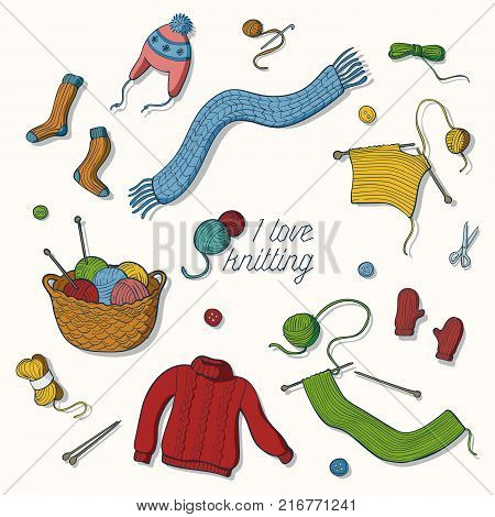 knitting, collection, hand drawn, illustration, vector, doodle, sketch, ball, design, wool, yarn, craft, crochet, needle, sewing, thread, handmade, isolated, knit, graphic, hook, material, warm, winter, needles, cotton, retro, sweater, knitwear, woolen, h