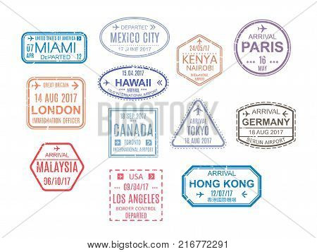 Template stamps, seals. Marks from airport, watermarks, international travel document, document with visas. Travel, vacation, immigration Vector illustration isolated