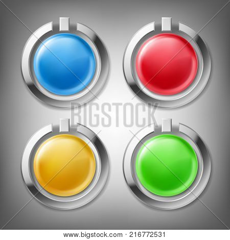 3D color glossy buttons in chrome metal frames, design elements, set of vector icons, isolated on gray. Can be used as web buttons, buttons for website or mobile app