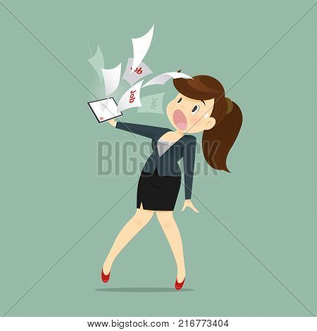 Cartoon Business Woman Shocked And Tired With Email Work A Receive From Manager Vector illustration