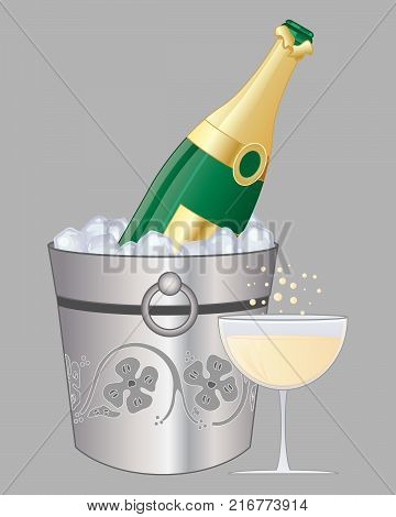 an illustration of a bottle of champagne on ice with a full glass beside a decorated bucket on a gray background
