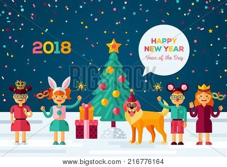 2018 Happy New year carnival night. Vector illustration. Cheerful children and dog celebrate in carnival costumes and masks. Christmas tree, confetti