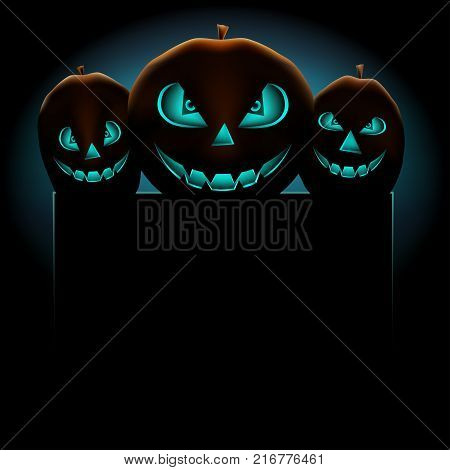 Halloween blue pumpkins scary terrible empty template for text message on dark background. Smiling pumpkin plant face