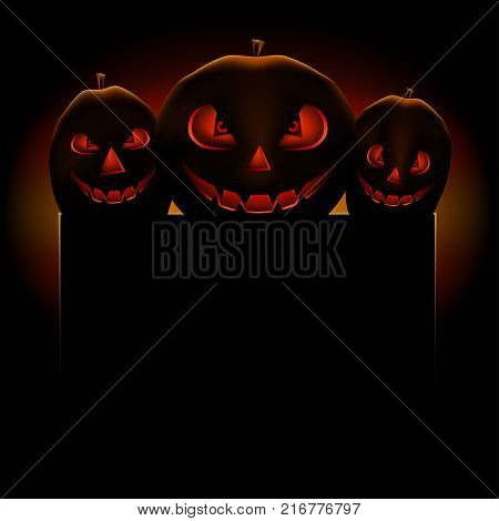 Halloween pumpkin scary terrible empty template for text message on dark background.