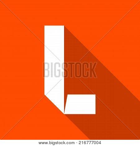 Alphabet paper cut white letter L, on color square