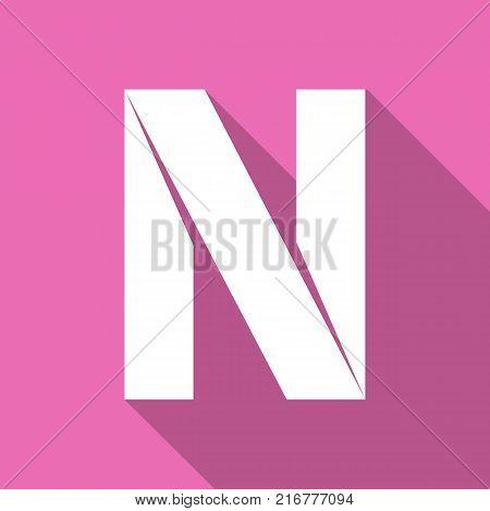 Alphabet paper cut white letter N, on color square