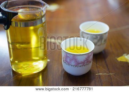 Hot tea in traditional ceramic tea cup. Healthy hot tea for breakfast