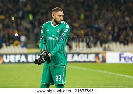 Uefa Europa League Game Between Aek Fc Vs Ac Milan
