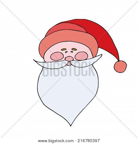 Santa Claus in Red Cap with pompon mustache with a beard isolated on white background. Flat style, icon. Festive Cristmas poster. illustration