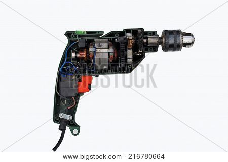 Electric drill in the section is visible stator rotor collector and other elements of the device insulation