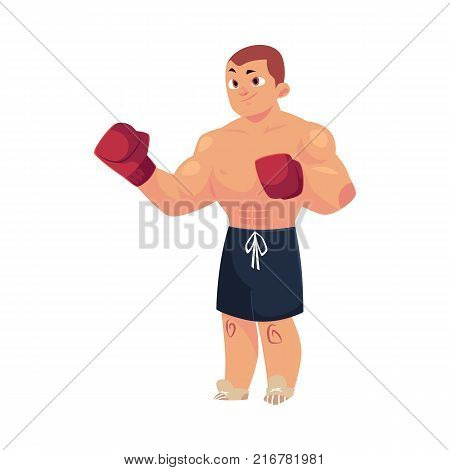 vector cartoon muscular strong handsome man bare torso and chest in boxing stand with red box gloves. Isolated illustration on a white background.