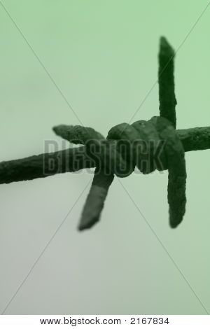 Barb wire close up bars blue border