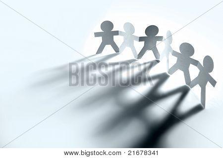 Gruppe von Menschen Hand in Hand