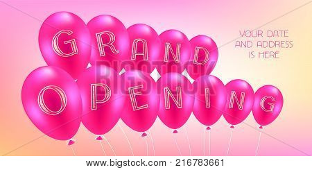 Grand opening vector illustration with pink air balloons. Template design element for store opening ceremony can be used as banner or flyer