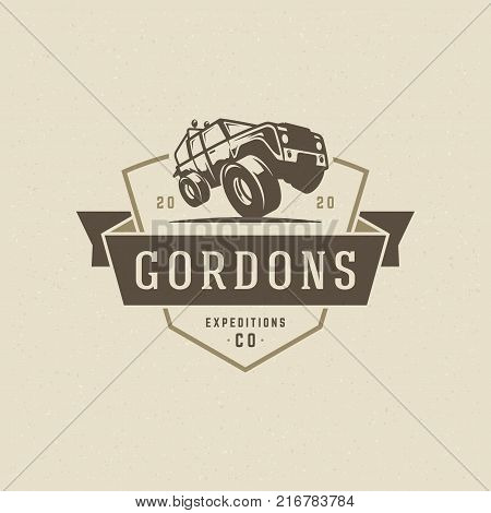 Off road car logo emblem vector illustration. Outdoor extreme adventure expedition, safari suv silhouette shirt, print stamp. Vintage typography badge design.