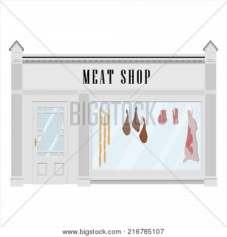 Vector illustration butcher meat shop facade icon. Sausages, beef carcass and steak. Butchery.