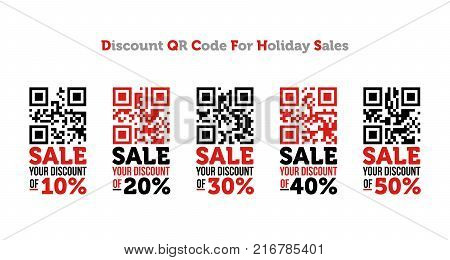 Discount QR code for holiday sales. Vector illustration