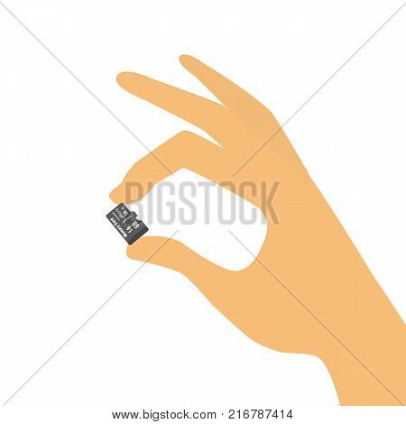 Hand holding micro sd card. Vector Illustration