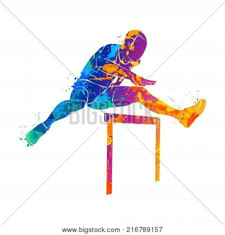 Abstract man jumping over hurdles from splash of watercolors. Photo illustration of paints.